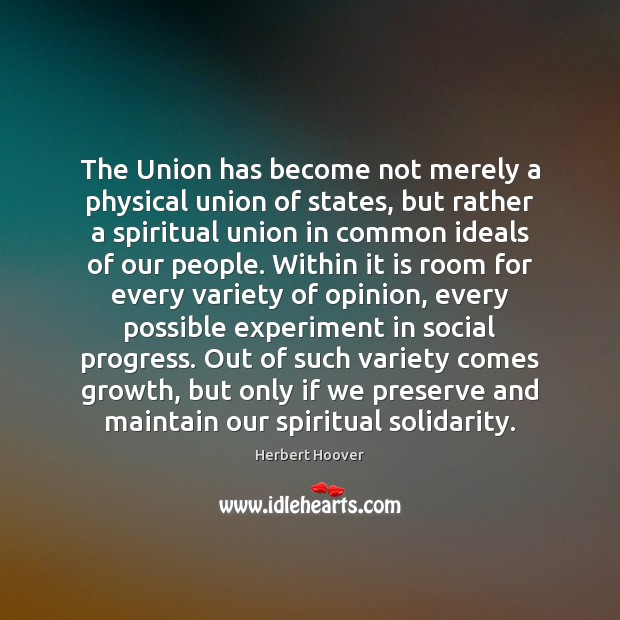 Image, The Union has become not merely a physical union of states, but