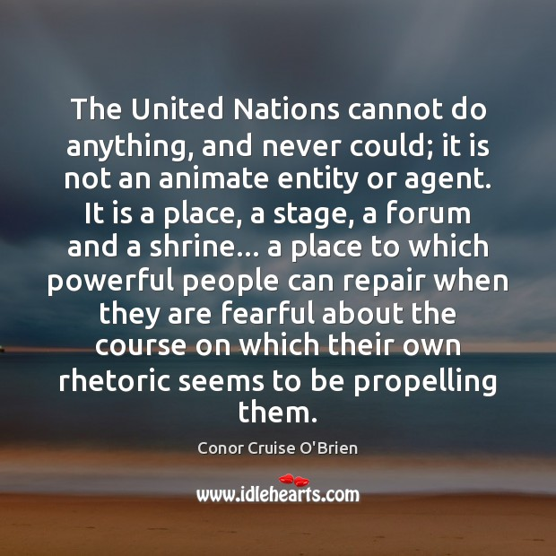The United Nations cannot do anything, and never could; it is not Image