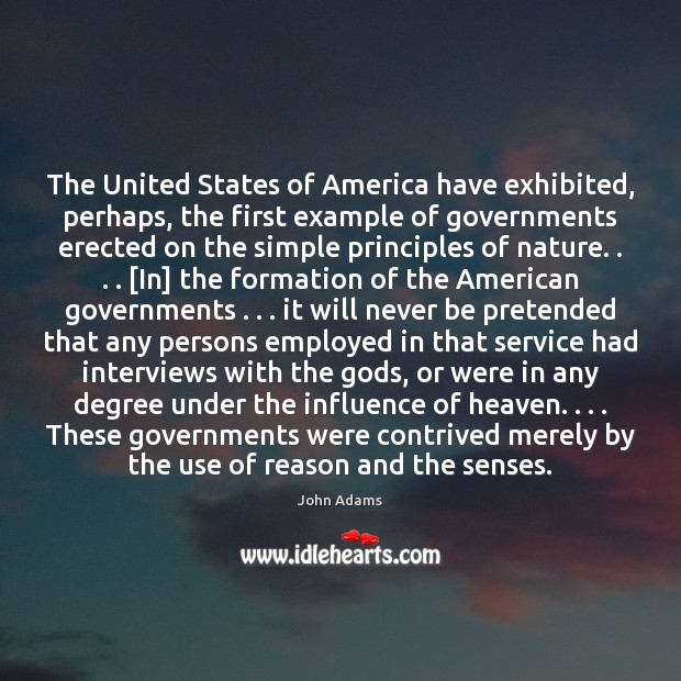 Image, The United States of America have exhibited, perhaps, the first example of