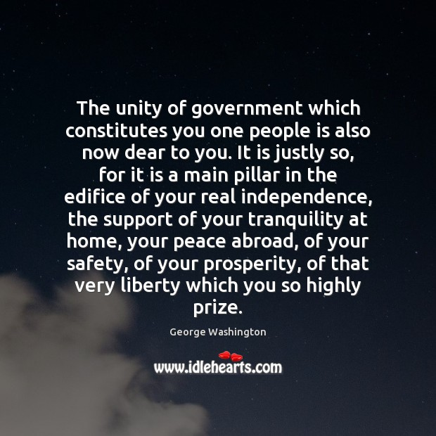 The unity of government which constitutes you one people is also now Image