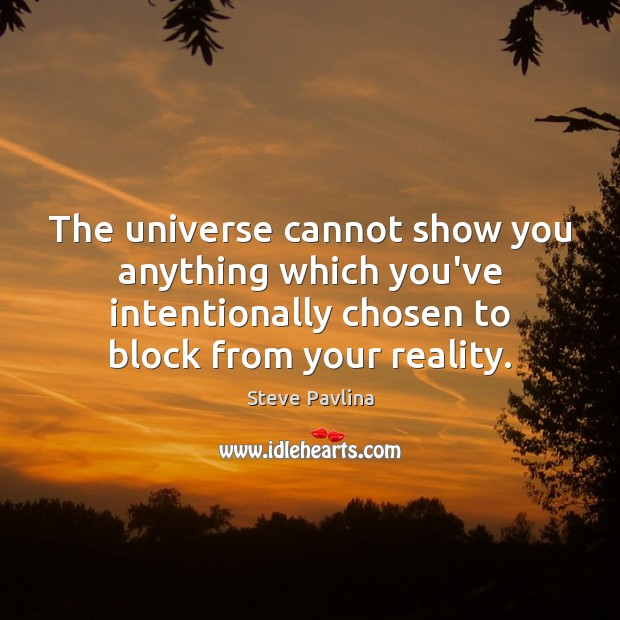 Image, The universe cannot show you anything which you've intentionally chosen to block