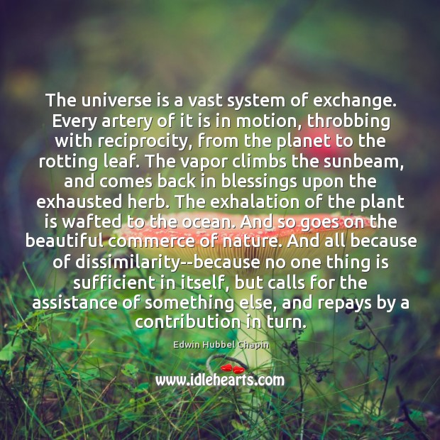 The universe is a vast system of exchange. Every artery of it Image