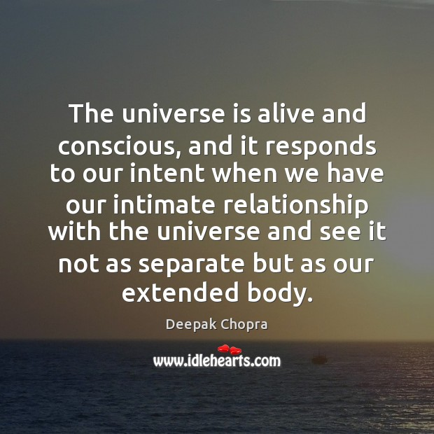 The universe is alive and conscious, and it responds to our intent Image