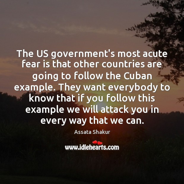 The US government's most acute fear is that other countries are going Assata Shakur Picture Quote
