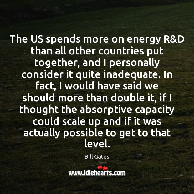 The US spends more on energy R&D than all other countries Image