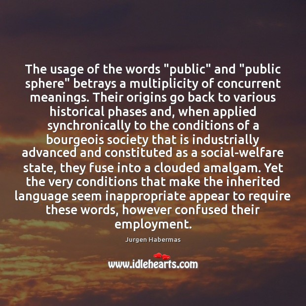 """The usage of the words """"public"""" and """"public sphere"""" betrays a multiplicity Jurgen Habermas Picture Quote"""