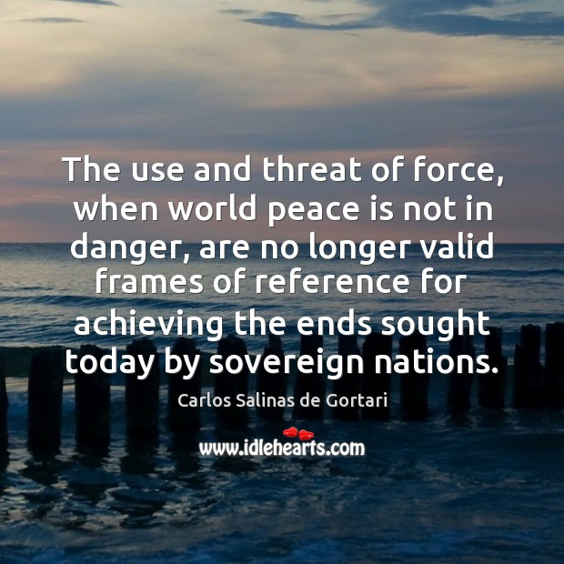 The use and threat of force, when world peace is not in Image