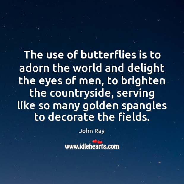 The use of butterflies is to adorn the world and delight the John Ray Picture Quote