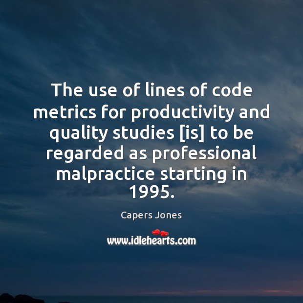 Image, The use of lines of code metrics for productivity and quality studies [