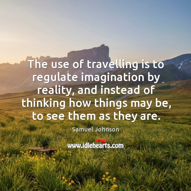 The use of travelling is to regulate imagination by reality Image