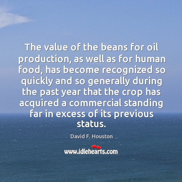 The value of the beans for oil production, as well as for human food, has become recognized so quickly and Image