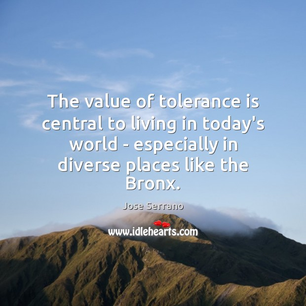 The value of tolerance is central to living in today's world – Tolerance Quotes Image