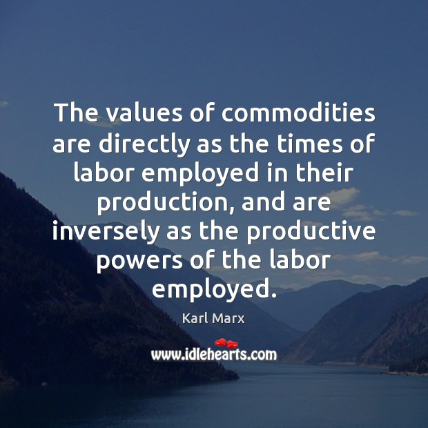 The values of commodities are directly as the times of labor employed Image
