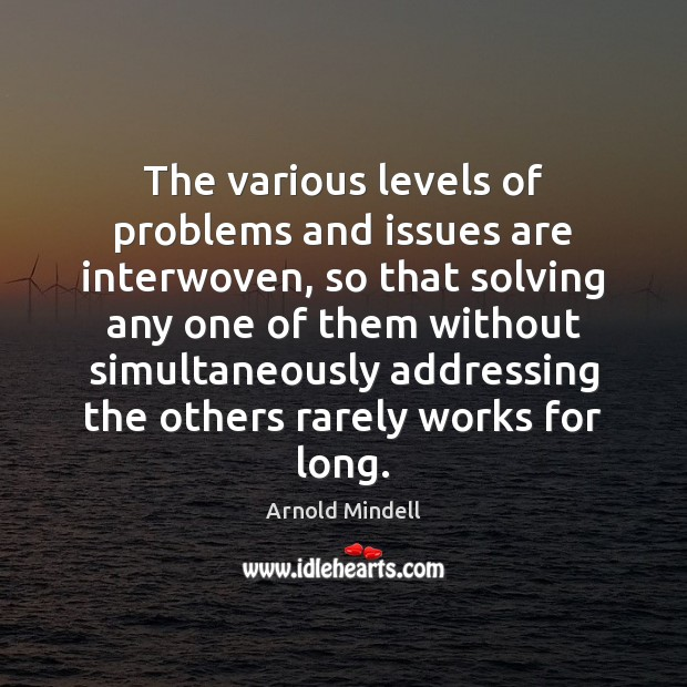The various levels of problems and issues are interwoven, so that solving Image