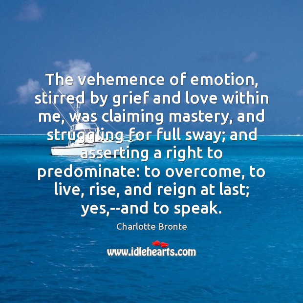 Image, The vehemence of emotion, stirred by grief and love within me, was