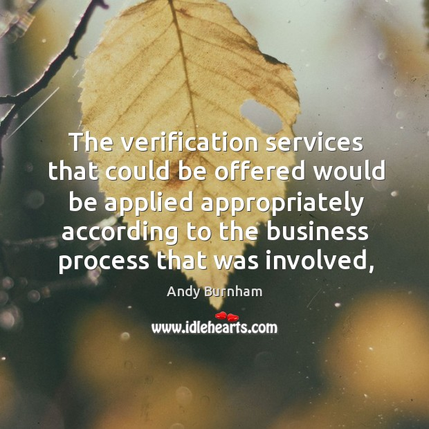 Image, The verification services that could be offered would be applied appropriately according