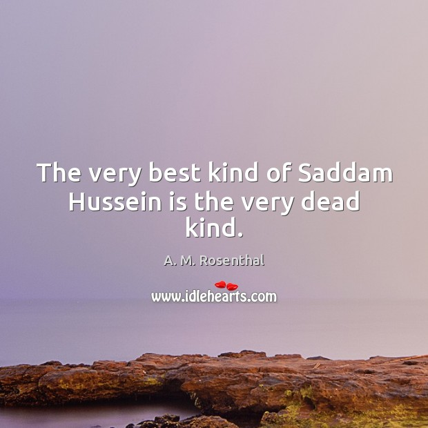 Image, The very best kind of Saddam Hussein is the very dead kind.