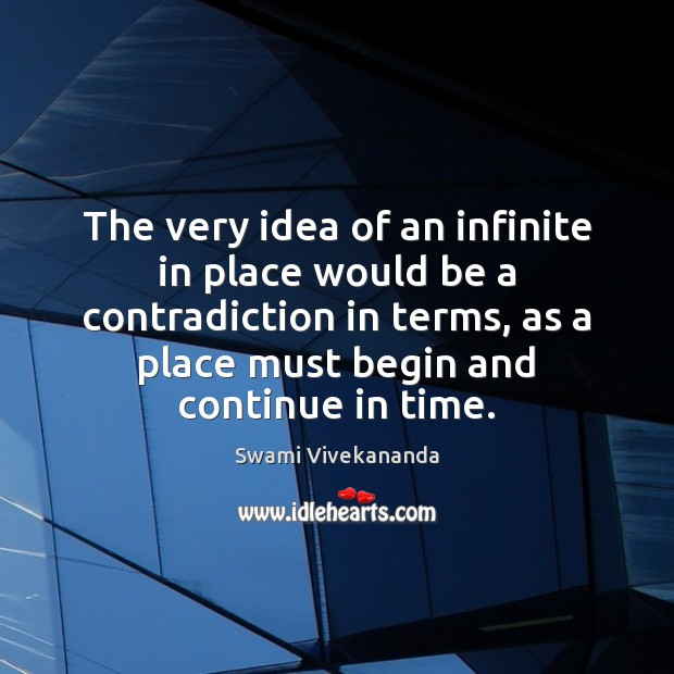 The very idea of an infinite in place would be a contradiction Image