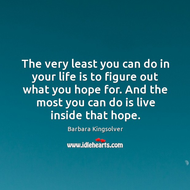 The very least you can do in your life is to figure out what you hope for. Image