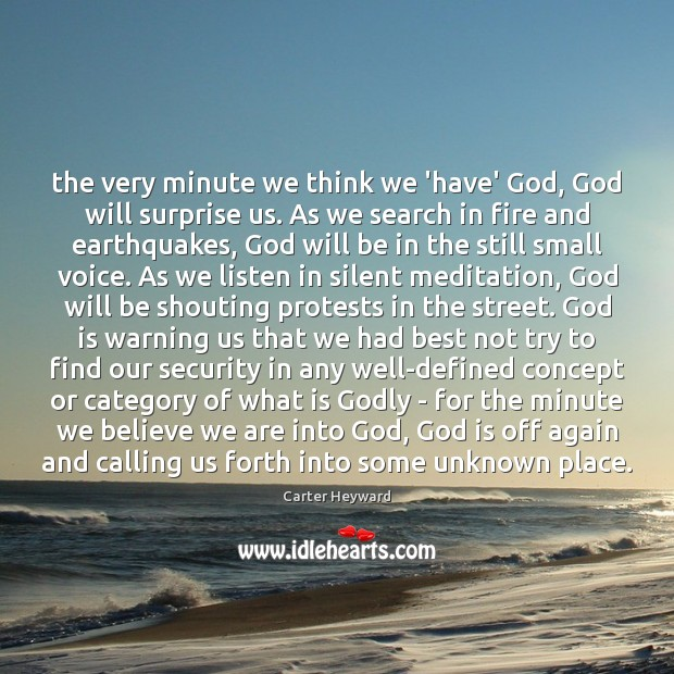 The very minute we think we 'have' God, God will surprise us. Carter Heyward Picture Quote