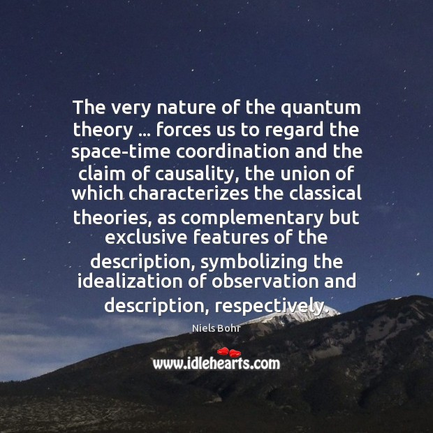 The very nature of the quantum theory … forces us to regard the Image