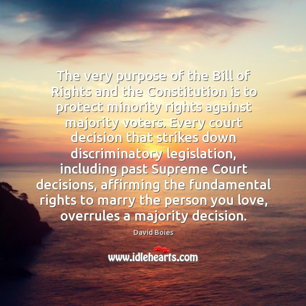The very purpose of the bill of rights and the constitution is to protect minority rights against majority voters. Image