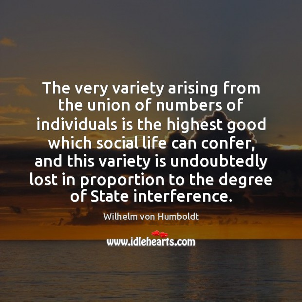 The very variety arising from the union of numbers of individuals is Image