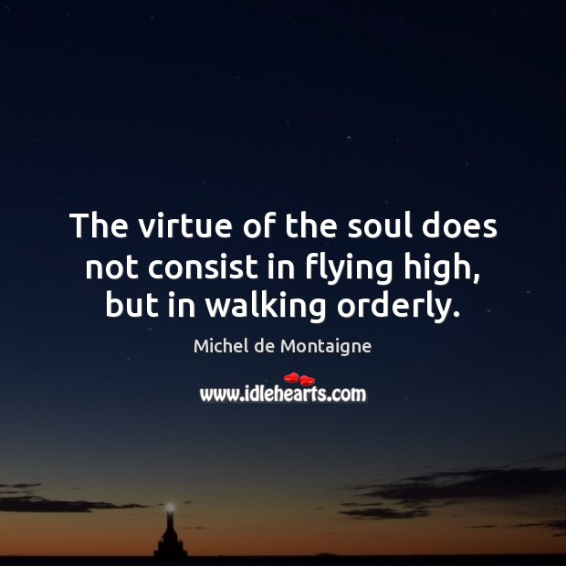 Image, The virtue of the soul does not consist in flying high, but in walking orderly.