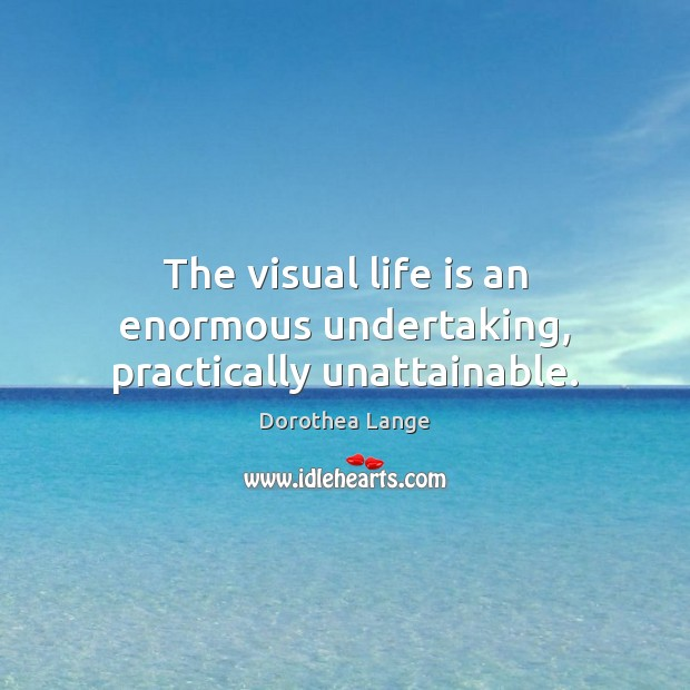 The visual life is an enormous undertaking, practically unattainable. Image