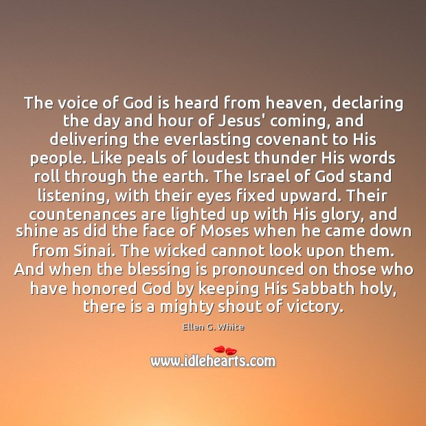 The voice of God is heard from heaven, declaring the day and Image
