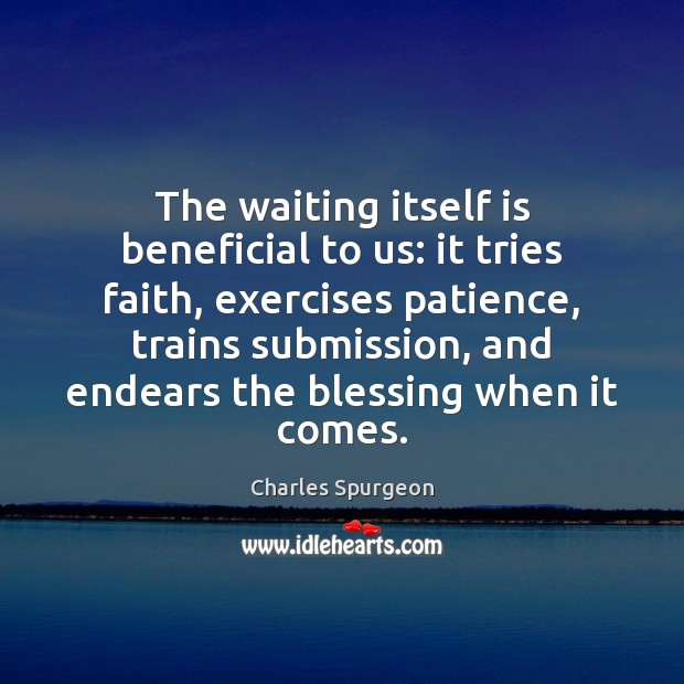 Image, The waiting itself is beneficial to us: it tries faith, exercises patience,