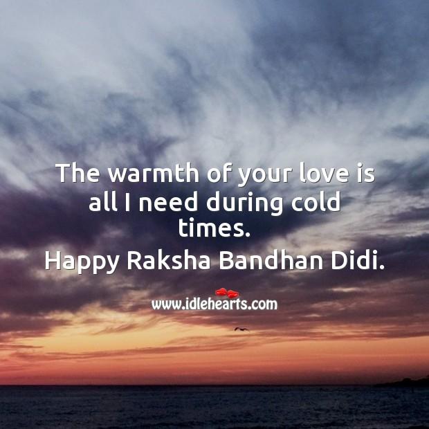 The warmth of your love Raksha Bandhan Quotes Image