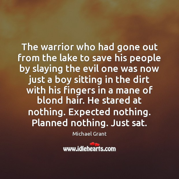 Image, The warrior who had gone out from the lake to save his