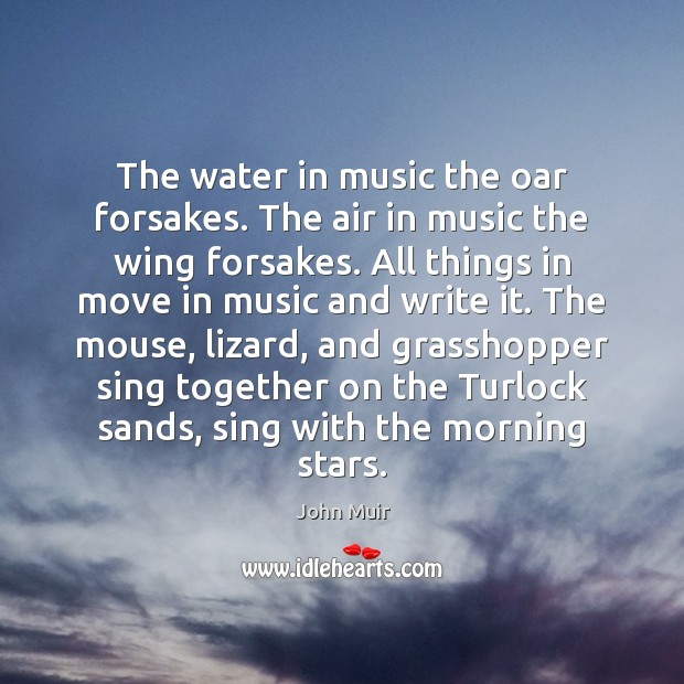 The water in music the oar forsakes. The air in music the Image