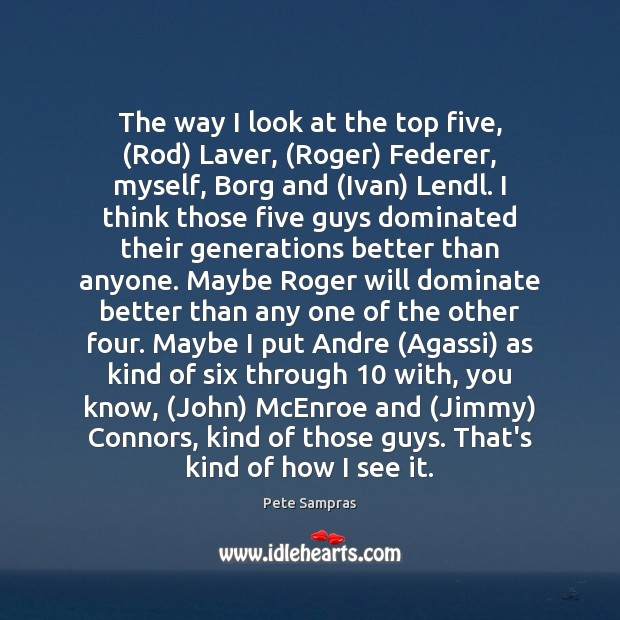 Image, The way I look at the top five, (Rod) Laver, (Roger) Federer,