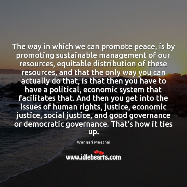 The way in which we can promote peace, is by promoting sustainable Image