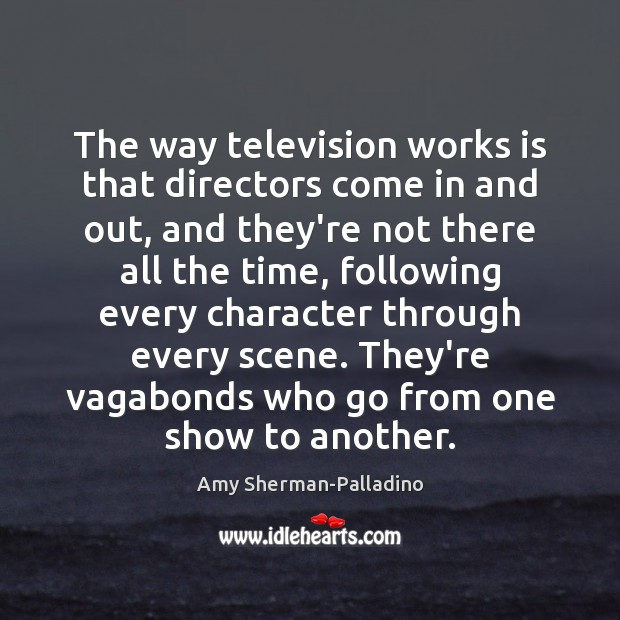 Image, The way television works is that directors come in and out, and