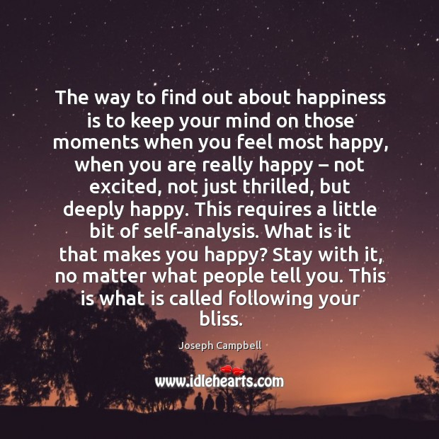 The way to find out about happiness is to keep your mind on those moments when you feel most happy Image