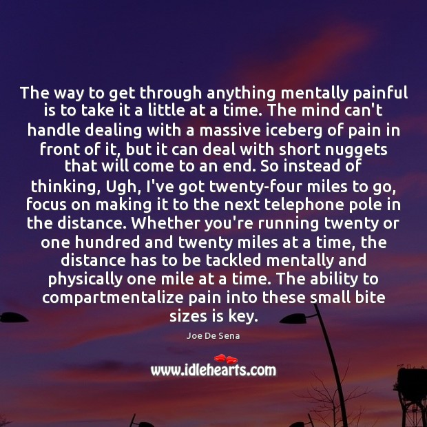 The way to get through anything mentally painful is to take it Image