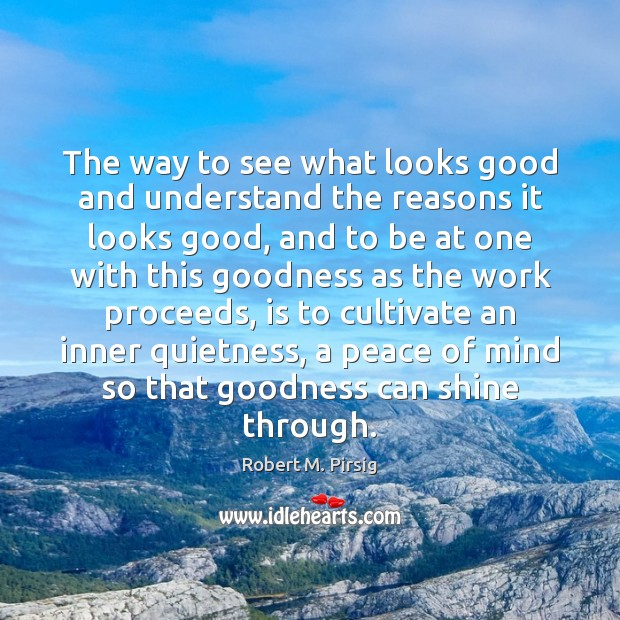 The way to see what looks good and understand the reasons it Robert M. Pirsig Picture Quote