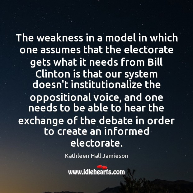 The weakness in a model in which one assumes that the electorate Image