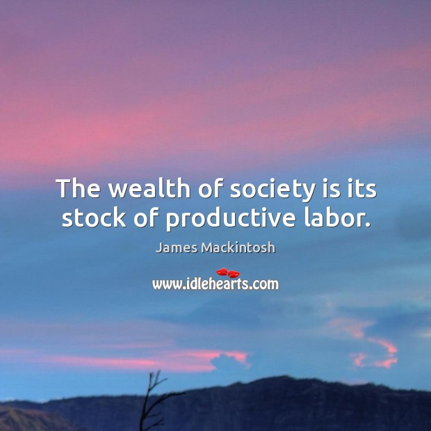 The wealth of society is its stock of productive labor. Society Quotes Image