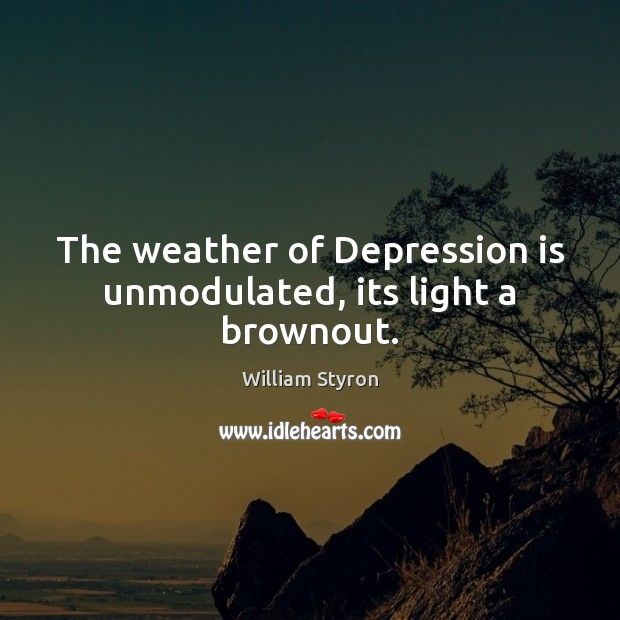 The weather of Depression is unmodulated, its light a brownout. Depression Quotes Image
