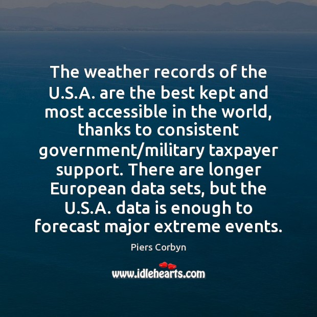 The weather records of the U.S.A. are the best kept Data Quotes Image