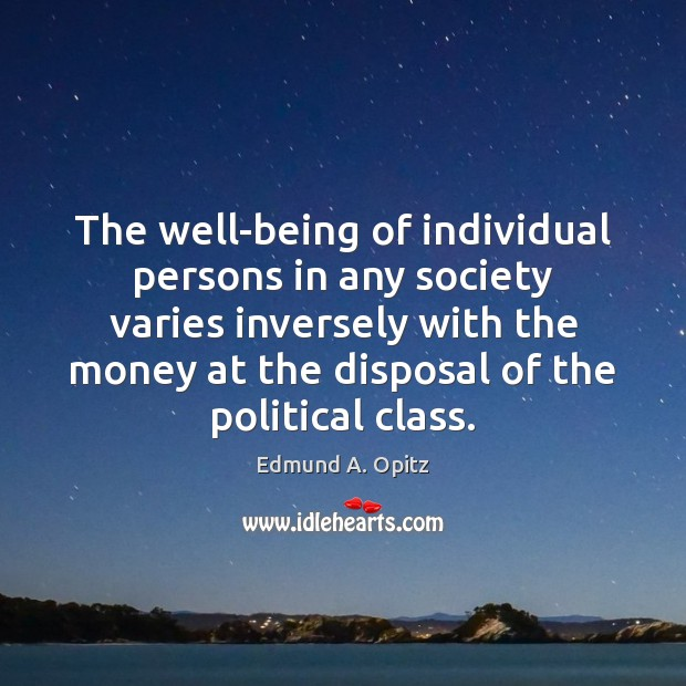 The well-being of individual persons in any society varies inversely with the Image