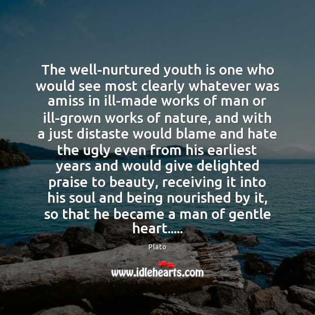 The well-nurtured youth is one who would see most clearly whatever was Hate Quotes Image
