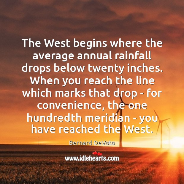 Image, The West begins where the average annual rainfall drops below twenty inches.