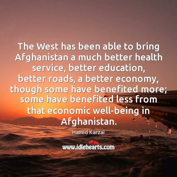 The West has been able to bring Afghanistan a much better health Image