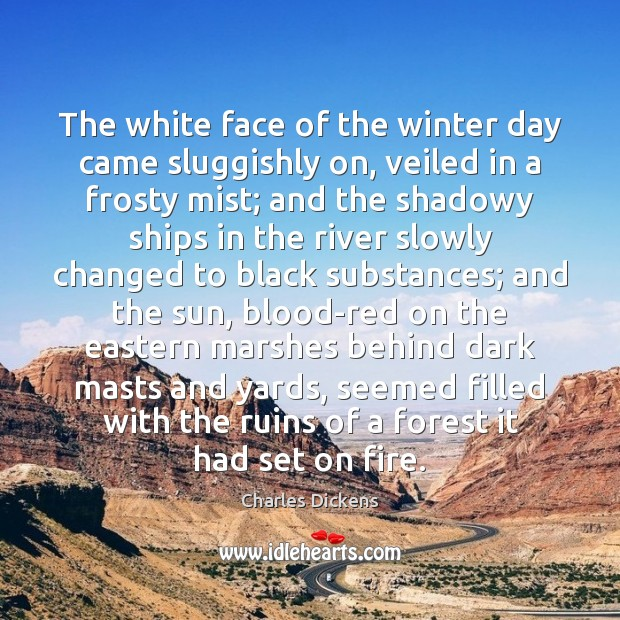 The white face of the winter day came sluggishly on, veiled in Image