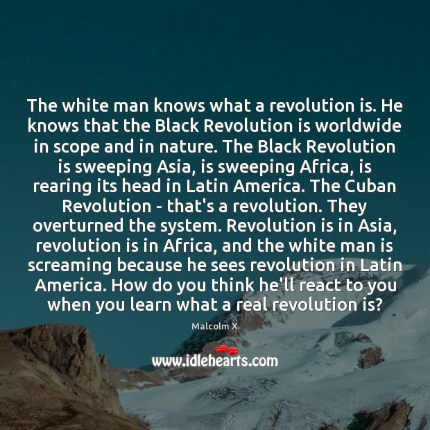The white man knows what a revolution is. He knows that the Malcolm X Picture Quote